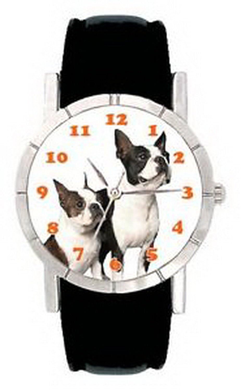 jwl0281 Friendsボストンテリア犬メンズレディース本革クォーツ腕時計 B01N1SXZ1T