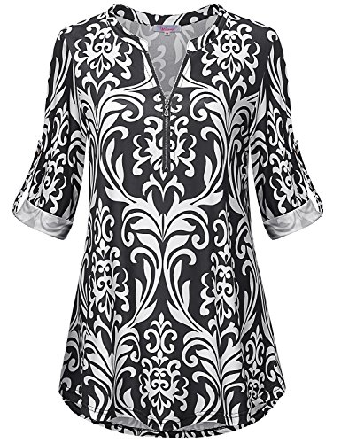 Misswor Tops for Women, Womens Zip V Neck Tops 3/4 Cuffed Sleeve Tunic Blouse Vintage Casual Floral Print Tee Shirt for Leggings Soft Surroundings Floral Black-White ()