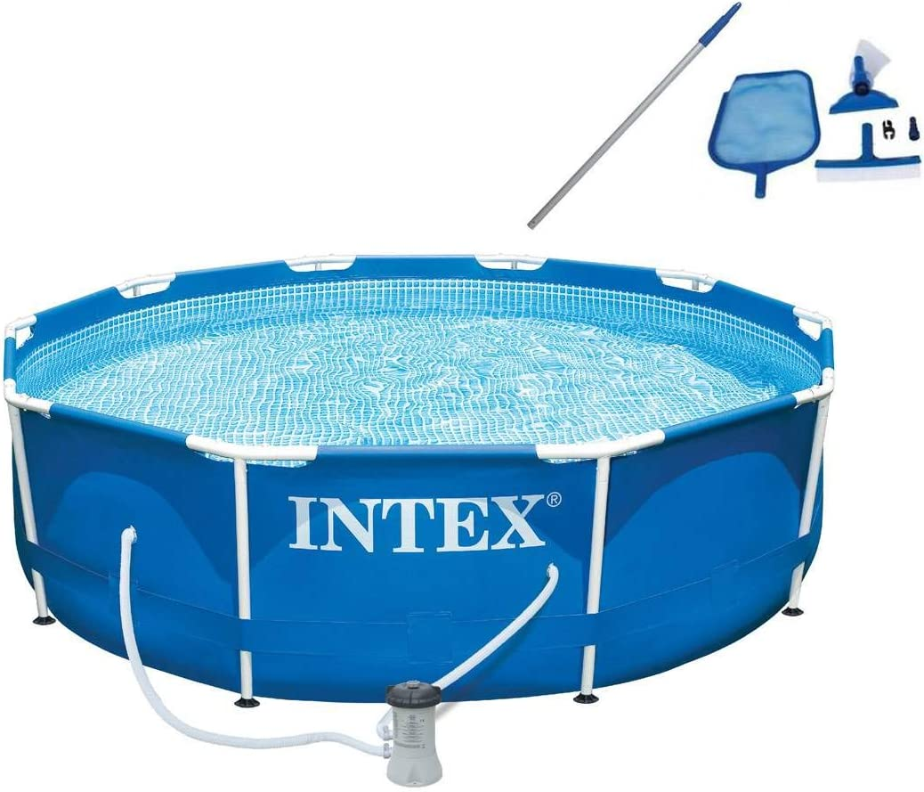 Intex 10ft x 30in Metal Frame Swimming Pool with Filter Pump Maintenance Kit