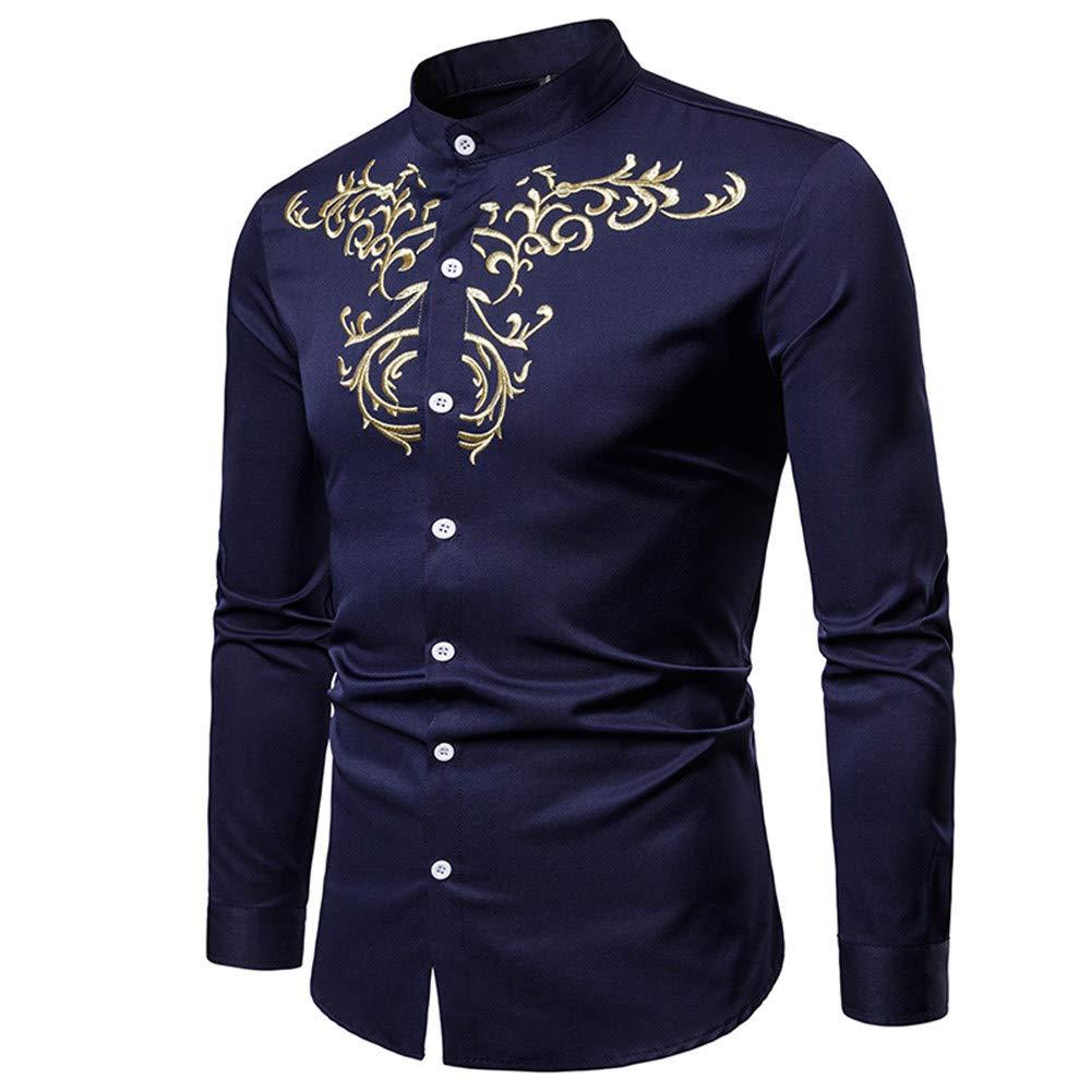 Yvelands Camisas para Hombre, Camisas Ocasionales de los Hombres Camisa de Manga Larga Bordada Estilo étnico del Cuello del Soporte ¡Top: Amazon.es: Ropa y ...