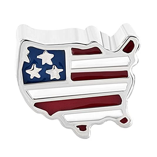 Amazoncom LovelyJewelry Travel Charms American Map USA Flag - Us flag map