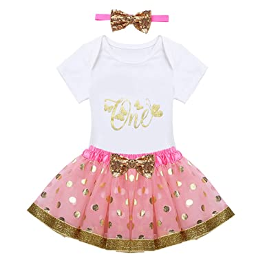 c23e8b248047 Freebily Infant Baby Girls 1st Birthday Outfits Romper Top with Tutu ...