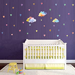 Clouds Wall Decals for Kids Rooms Watercolor Raindrops Wall Art Stickers for Babies Bedroom Nursery Wall Decor
