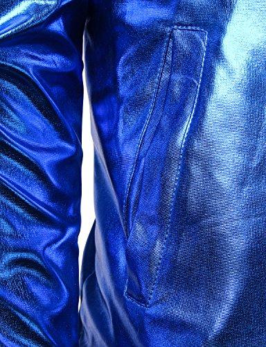7ca48527484 JOGAL Mens Metallic Nightclub Styles Zip Up Varsity Baseball Bomber Jacket  Medium Blue