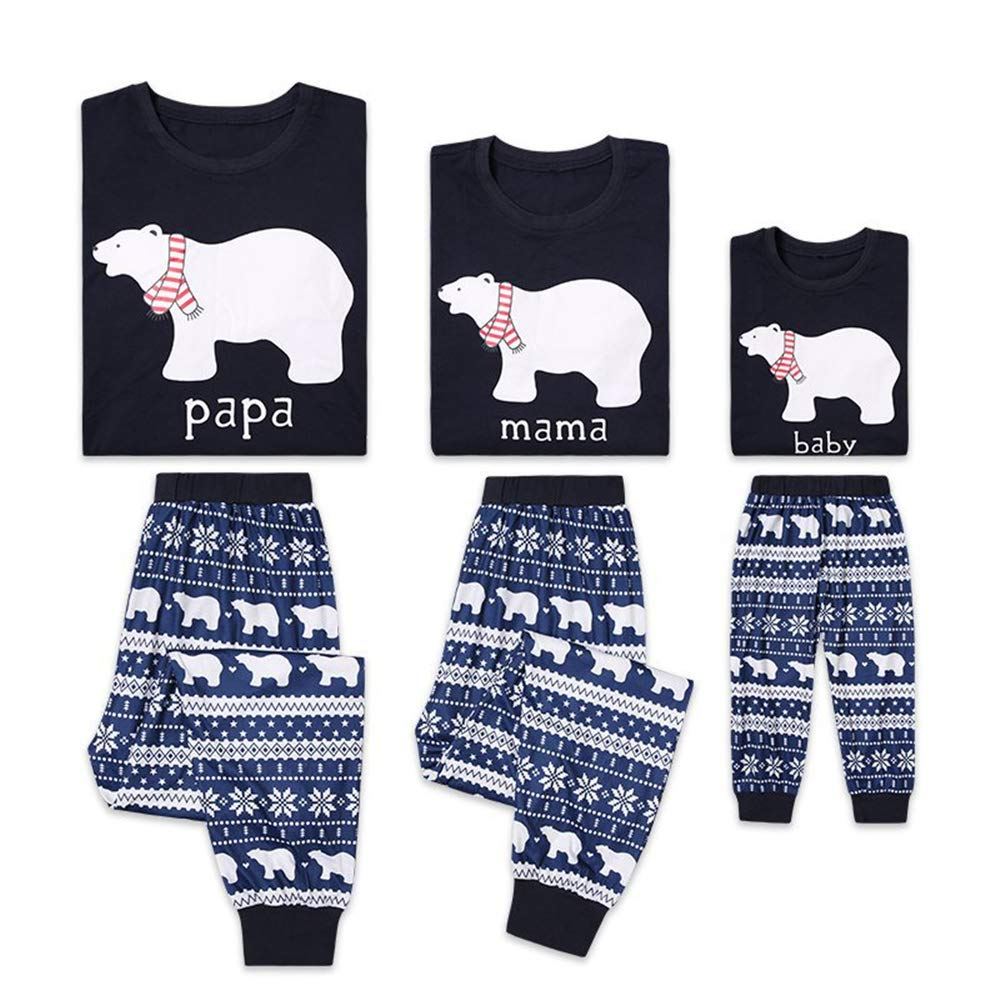Papa Mama Kids Baby Bear Matching Family Christmas Pajamas Jammies Sets for The Family,Blue
