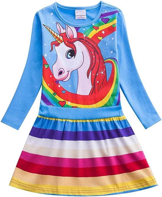 Kids Girls Unicorn Cartoon Summer Dress Princess Party Sundress Casual Outfit