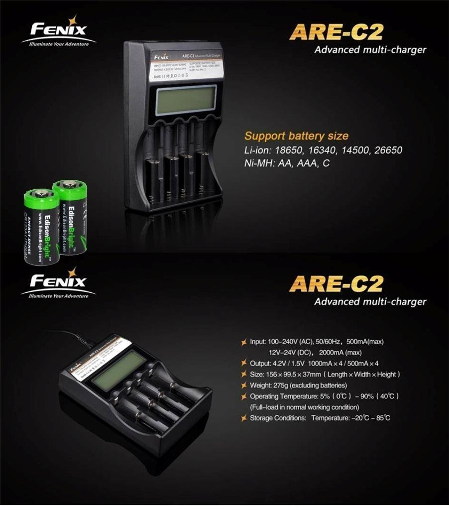 Fenix HL55 900 Lumen CREE XM-L2 T6 LED Headlamp with Fenix ARE-C2 four bays advanced digital battery charger, 2 X Fenix 18650 ARB-L2S 3400 mAh rechargeable batteries and two EdisonBright CR123A Lithium batteries by Fenix (Image #4)
