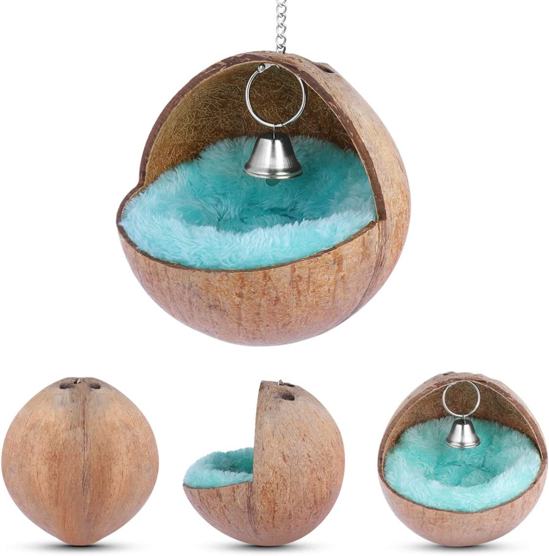 Zerodis Bird Nest Hanging Natural Coconut Husk Hammock Swing With Bell Cage Toy Birdhouses Hatching Nest with Mat