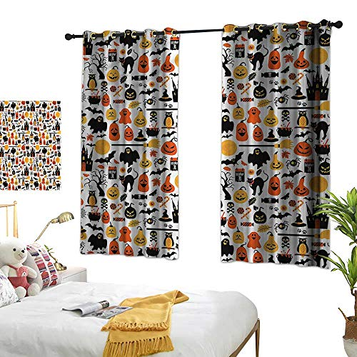 Warm Family Halloween Sliding Curtains Candies Owls and Castles Suitable for Bedroom Living Room Study, etc.55 Wx39 L -