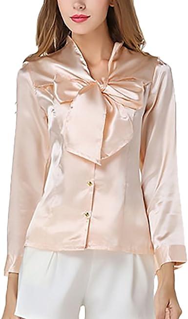 Blusas De Mujer De Moda 2018 Elegantes Vintage Satén Camisas Manga Larga Slim Fit con Lazo Negocios Oficina Fiesta Camisa Tops Ropa Señora: Amazon.es: Ropa y accesorios