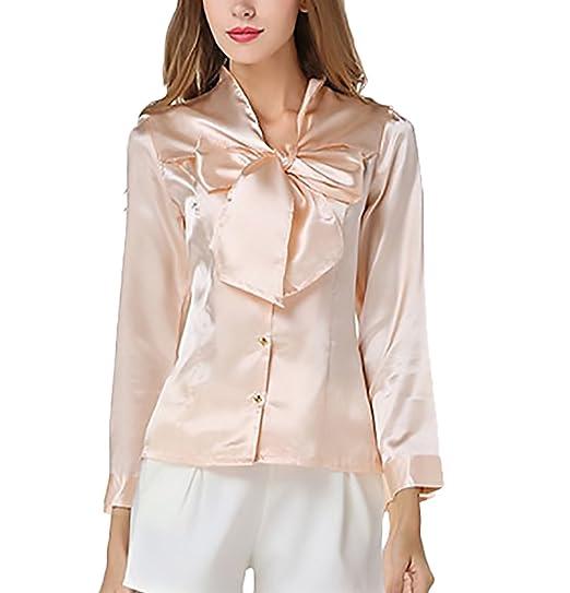 BOLAWOO Blusas De Mujer De Moda 2018 Elegantes Vintage Satén Camisas Manga Larga Slim Fit con