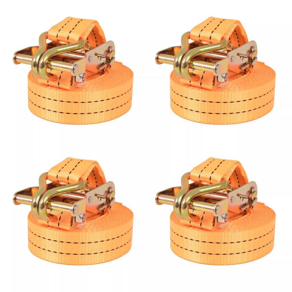 vidaXL 4x Ratchet Tie Down Straps 1 Tonnes 6mx38mm Orange Professional Tool