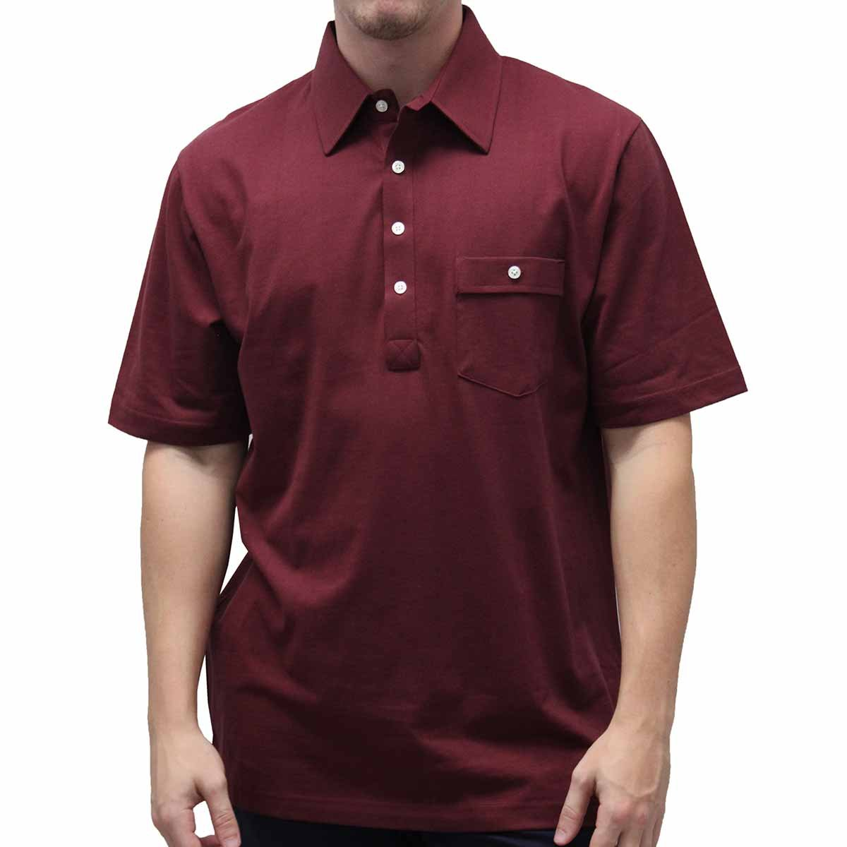 Palmland Solid Textured Short Sleeve Knit Big and Tall Burgundy