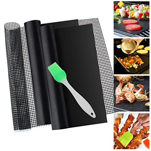 BBQ Grill Mat, Firesara Top Quality Heavy Duty 500 Degree NonStick Mats Perfect for Charcoal Electric and Gas Grill Reusable Easy to Clean Includes 2 Mats+1 Mesh+1 Silicone BBQ Brush
