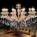 Generic Zinc Alloy Body Crystal Chandelier 10 Lights Arms Lamp Color Gold