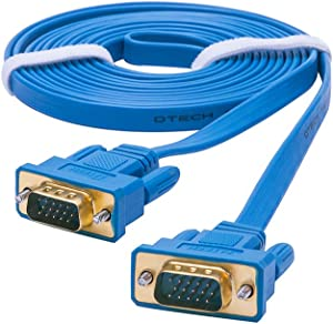 DTECH 3m Ultra Slim Flat Computer Monitor VGA Cable 10 Feet 15 Pin Male to Male Connector Wire - Blue
