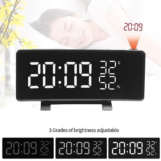 MAMASAM Despertador proyector Reloj Radio Despertador Ajustable ...