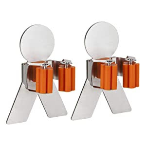 Bosszi Smiling Twins Broom Holder Mop Holder, SUS 304 Stainless Steel Brushed & Non-Slip Silicone Self-Adhesive Mounted Storage Racks with Human Body Spring Clip Design for Holding Tools (2-Pack)