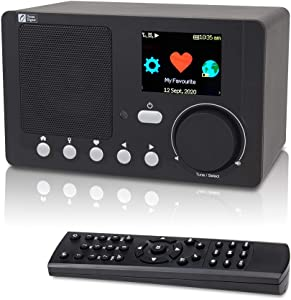 "Ocean Digital Internet Radio WiFi, Portable Digital Radio with Rechargeable Battery Bluetooth Receiver with 2.4"" Color Display, Support UPnP and DLNA (Black)"