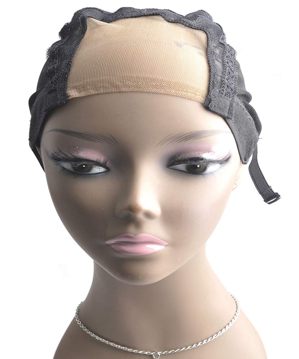 5 Pieces U Lace Wig Cap Black for Women for Making Wigs with Adjustable Strap on the back Weaving Cap one Size Glueless Wig accessories Caps Ross Beauty by Ross Beauty