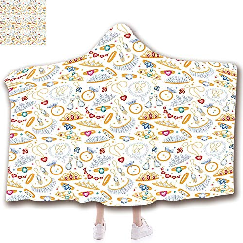 ent China Decorations Blanket Wearable Hooded Blanket,Unisex Swaddle Blankets for Babies Newborn by,Diamond Rings and Earring Figures Image Digital,Adult Style Children Style ()