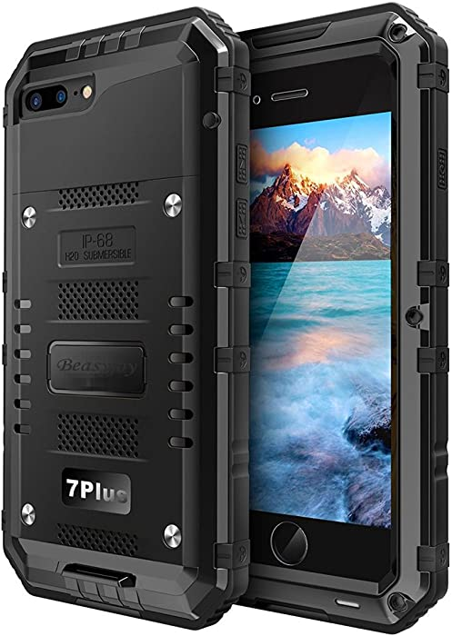 Beasyjoy iPhone 7 Plus 8 Plus Metal Case Heavy Duty Screen Full Body Protective Waterproof Shockproof Drop Proof Tough Rugged Metal Military Grade Defender Outdoor Black