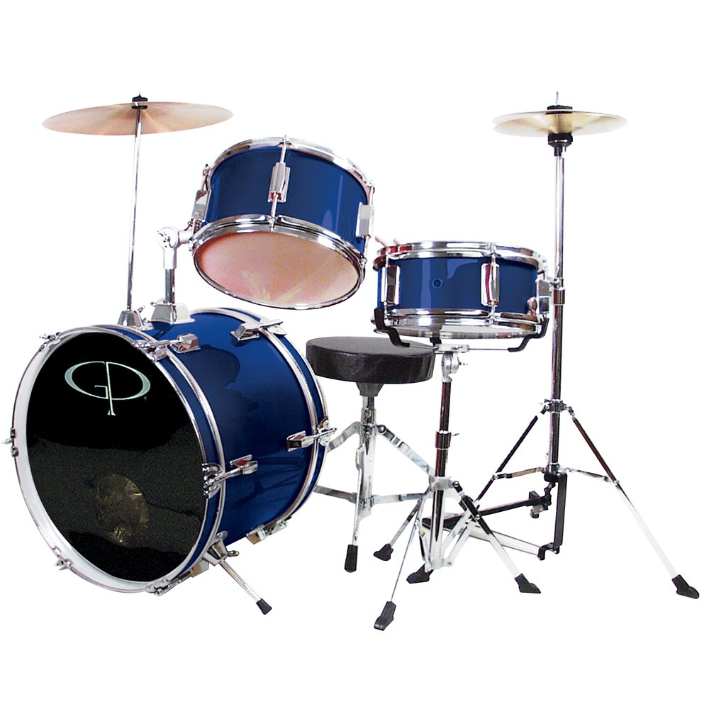 GP Percussion GP50BL Complete Junior Drum Set (Blue, 3-Piece Set) by GP Percussion