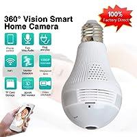 CIC Camera Ip Panoramica Hd Seguraça Lampada Vr 360 Espia Wifi Led Iphone Android, Branco
