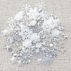 Wedding Touches 80 Winter/Christmas Mix Silver/White Shabby Chic Resin Flatbacks Craft Cardmaking Embellishments