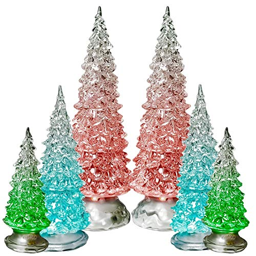 BANBERRY DESIGNS Table Top Christmas Trees - Set of 6 - LED Lighted Acrylic Christmas Trees Holiday Decoration Set of 6 Assorted Sizes 10, 7.5 & 5.5 H