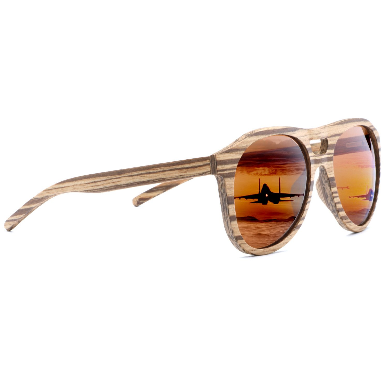 Zebrawood, Brown Ablibi Wood Polarized Sunglasses Men Classic Glasses lentes de sol para hombre in Wood Box