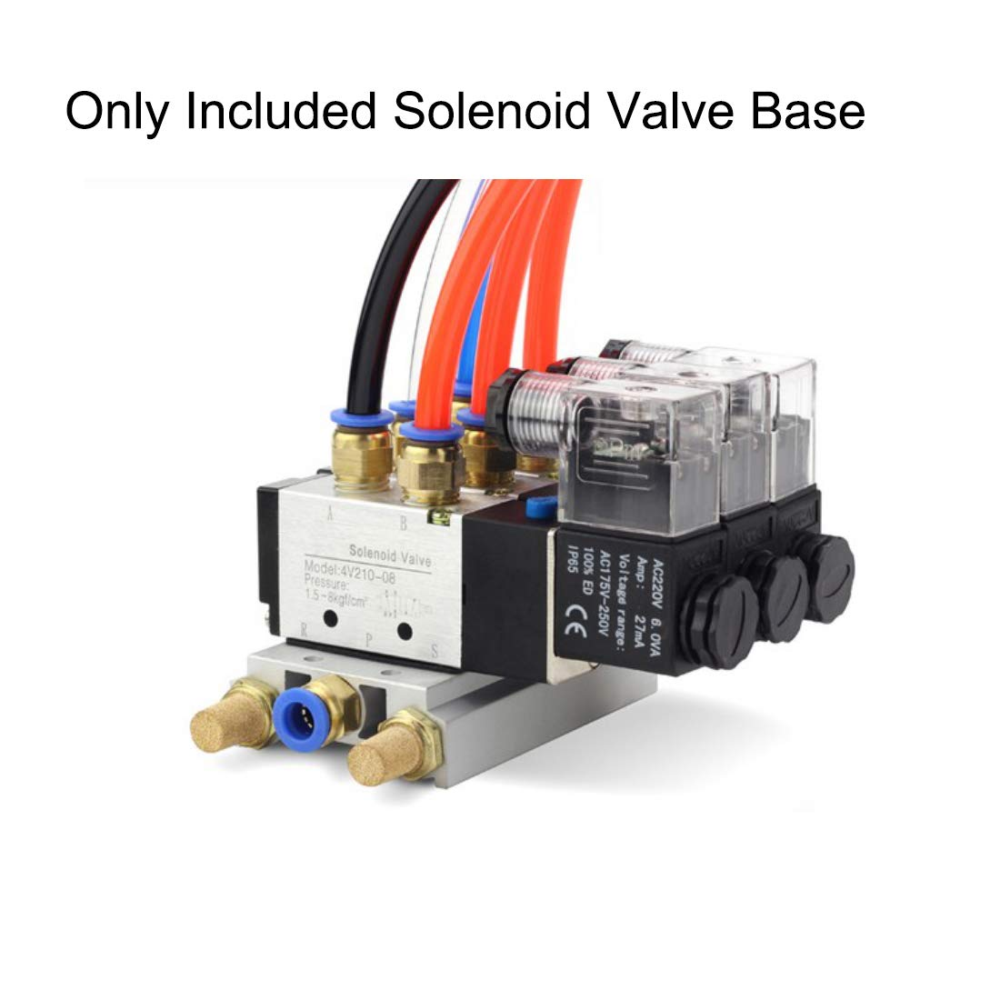 uxcell 1//4 inches PT Thread 3 Row Aluminum Manifold Solenoid Air Pneumatic Valve Base Socket for 4V210 Series