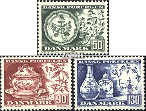 Denmark 589-591 (Complete.Issue.) 1975 Danish China (Stamps for Collectors) Glass/Ceramics/Porcelain
