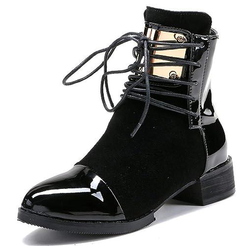 56f943aa Botas De Tobillo con Tacón Bajo para Mujer Zapatos con Cordones Zip Botas  Cortas De Gamuza Cálido Botines Ocasionales De La Fiesta De Regalo:  Amazon.es: ...
