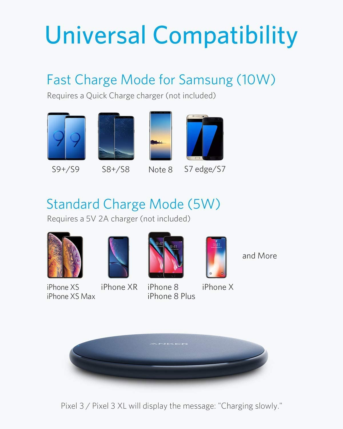 Note 10 Anker Wireless PowerWave Pad No AC Adapter Xs Max Compatible iPhone 11 10W Fast-Charging Galaxy S10 S9 S8 XS X Renewed 8 XR 8 Plus 11 Pro 11 Pro Max