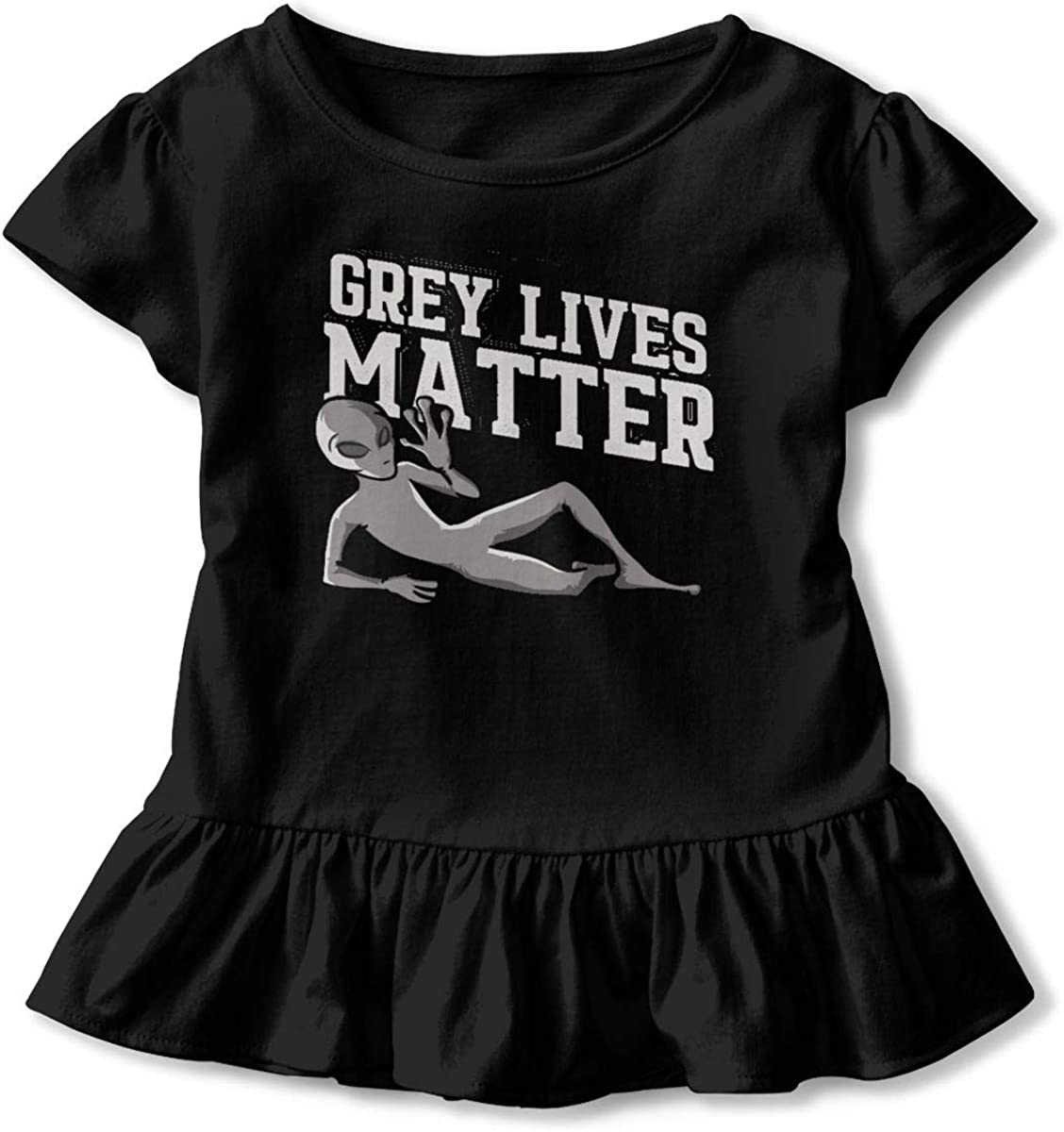 Grey Lives Matter Alien Shirt Baby Girls Ruffles Cotton Summer Clothes for 2-6 Years Old Baby