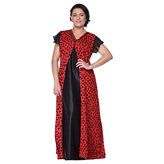 227eae719e GEMINI NIGHTY WITH RED POLKA DOT PRINT: Amazon.in: Clothing & Accessories