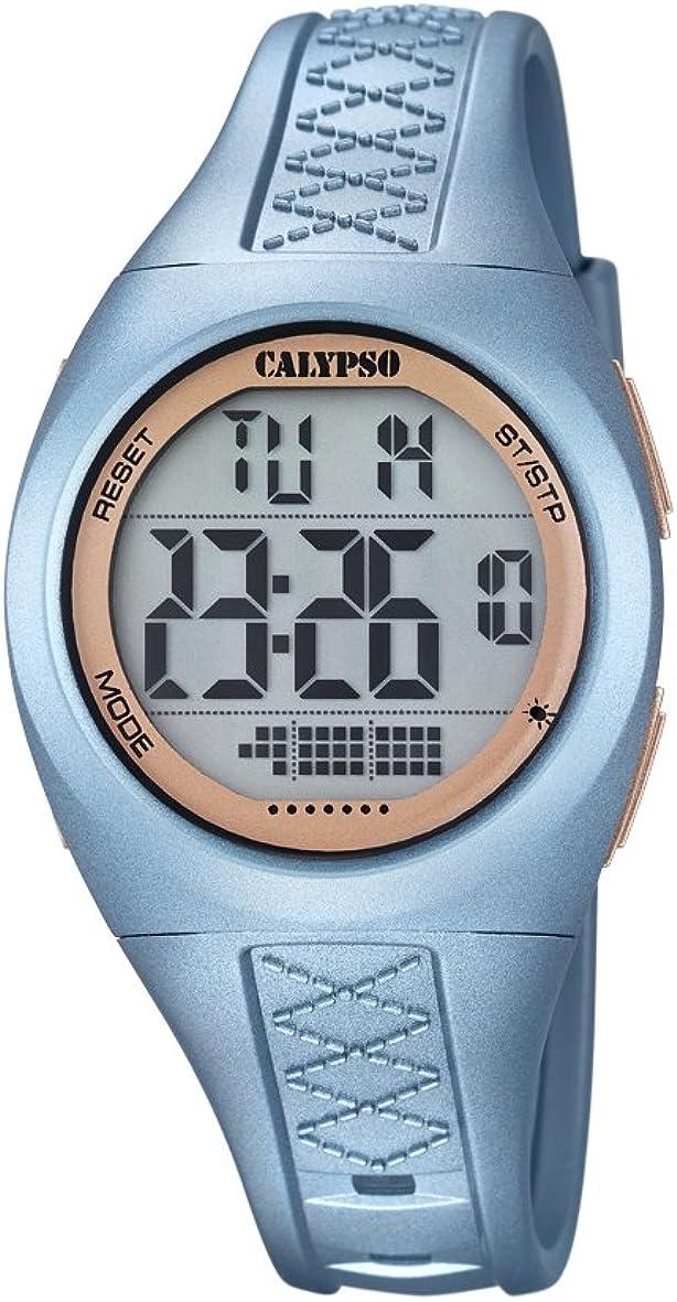 Calypso–Reloj Digital Unisex con LCD Pantalla Digital Esfera Azul y Correa de plástico K5668/3