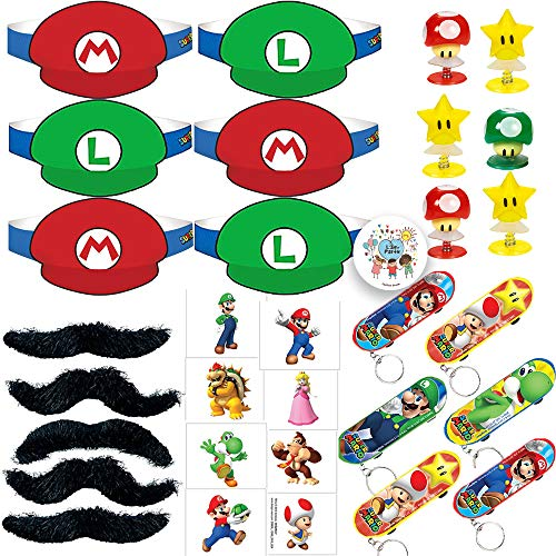 Super Mario Bros Birthday Party Favors Pack For 12 Guests With Super Mario and Luigi Paper Visor Hats, Mustaches, Tattoos, Skateboard Key Chains, Pop Up Mushrooms and Stars Toys, and Exclusive Birthday Pin -