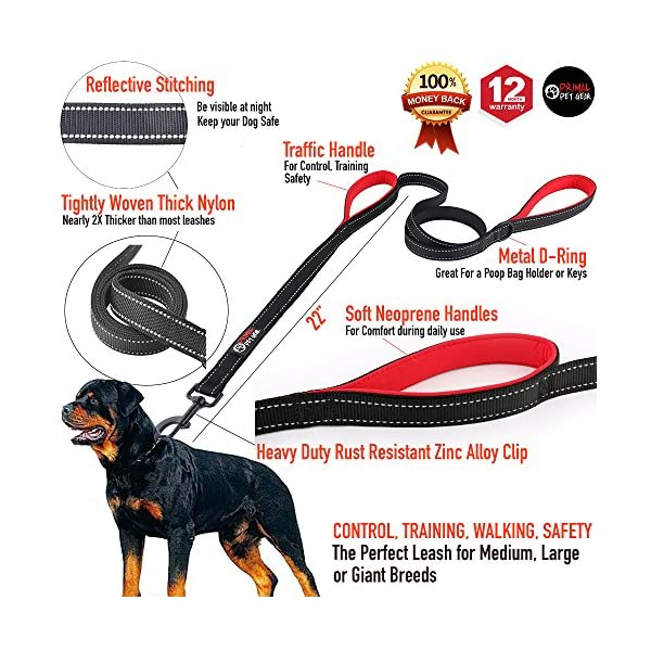 Primal Pet Gear Dog Leash 8ft Long – Black – Traffic Padded Two Handle – Heavy Duty – Double Handles Lead for Control Safety Training – Leashes for Large Dogs or Medium Dogs – Dual Handles Leads