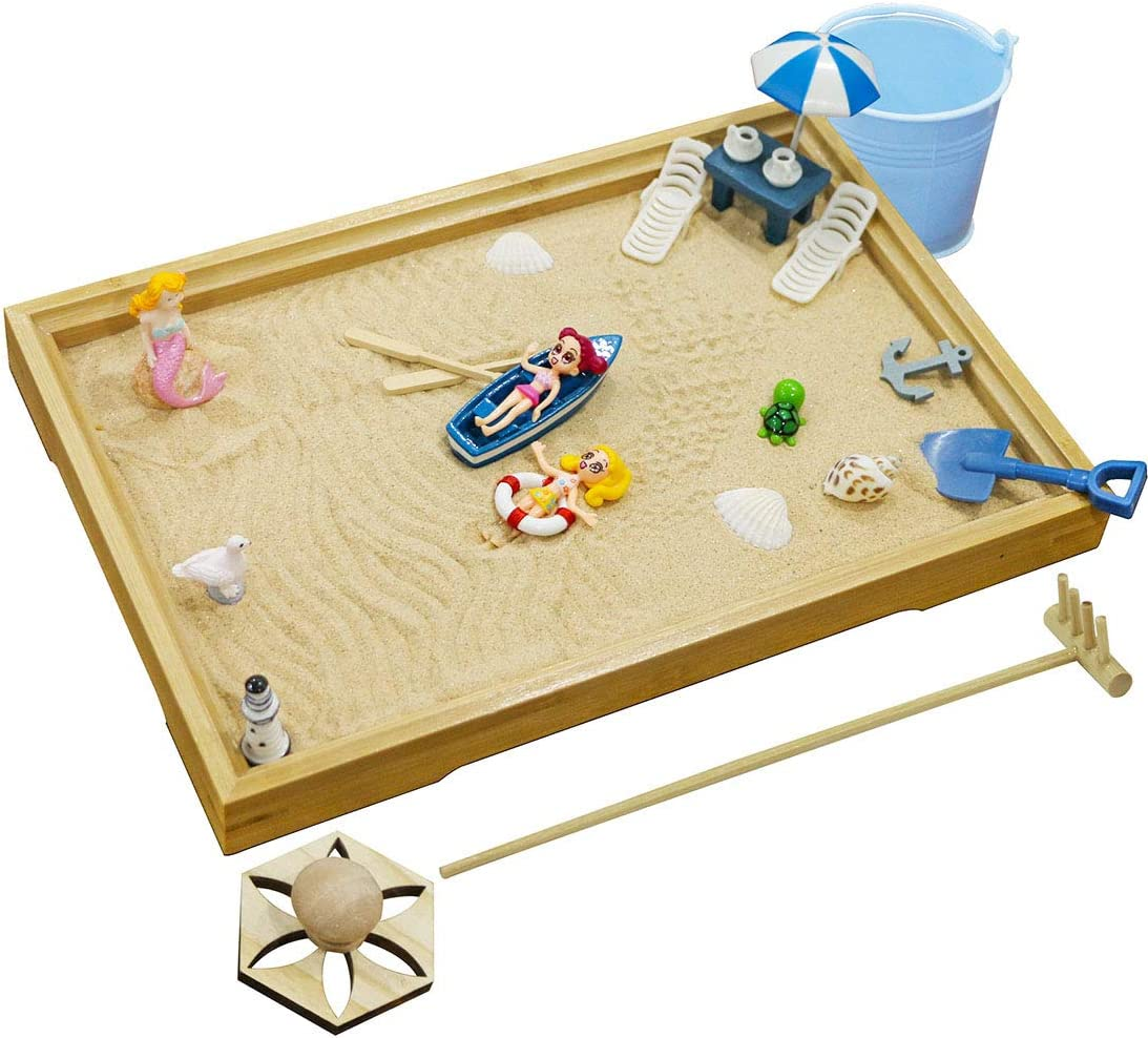 Desktop Miniature Beach Zen Garden - Mini Home Office Tabletop Sandbox Bamboo Rakes Stamps Tray Tool Accessories Kit Meditation Relaxation Decor - Stress Relief Therapy Gifts Kids Adult Father Mother