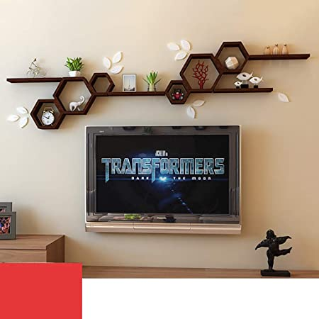 GWXJZ Estanterías para CD DVD Estante de Pared de Madera Maciza decoración de Pared Fondo de Pared de TV Estante para Libros habitación Estante de Almacenamiento de Pared: Amazon.es: Hogar