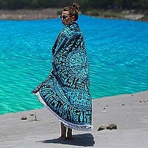 Kraftdirect toalla de playa mandala calidad superior algod n org nico toalla de playa - Toallas redondas de playa ...