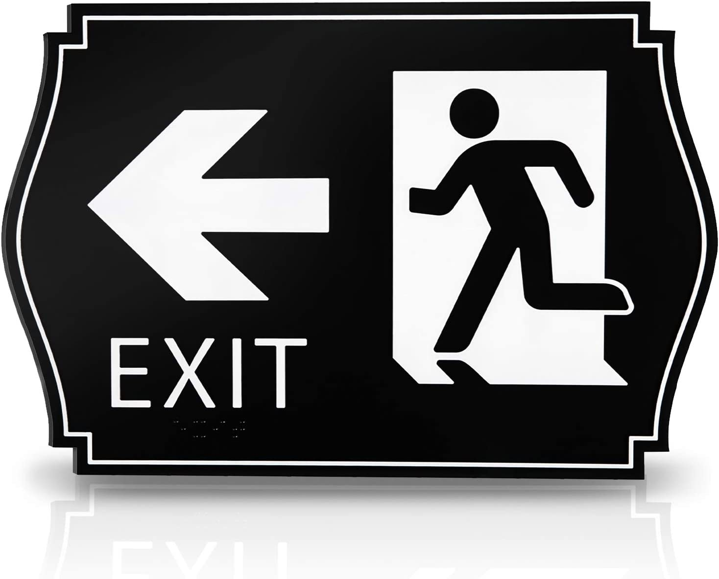 KickFire Classics Braille Exit Sign - ADA Compliant Black and White Signage, Self-Adhesive Mounted - Tactile Emergency Route Board for Office, Business, Stairwell and Restaurant - Arrow to The Left