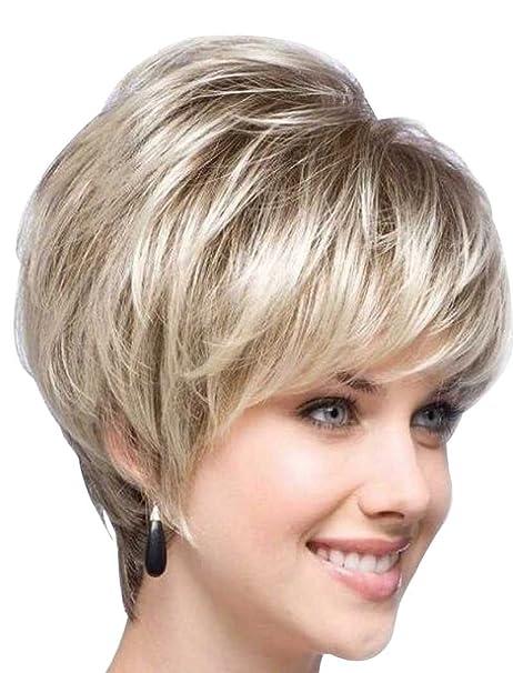 Tsnomore - Elegante peluca corta con cardado de pelo negro y rubio mezclado para mujeres