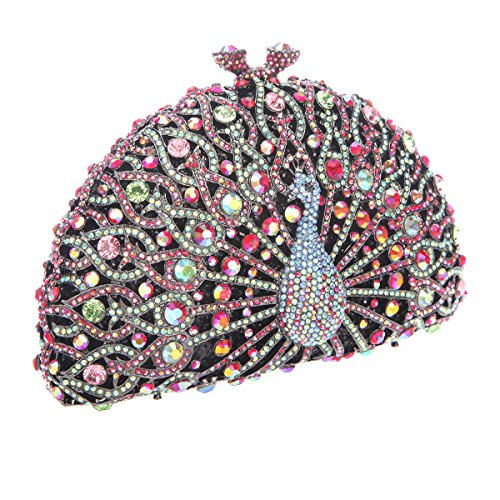 Red Bonjanvye Evening Girls Glitter Crystal Peacock Bag For Clutch Black HwpHqzO