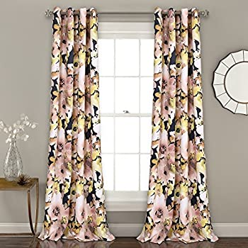 Lush Decor 16T002398 Floral Watercolor Room Darkening Window Curtain Panel Pair, 84