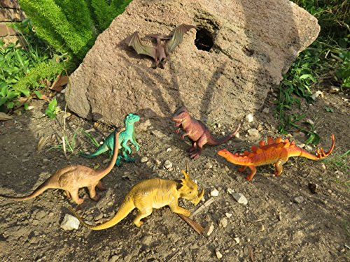 Educational Dinosaur Toys 6 pack - 7'' realistic toy dinosaur figures for cool kids and toddler education! Great gift set and party favors! by Wonders-Shop