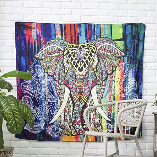 GoodPing Indian Boho Elephant Tapestry Colored Printed Decorative Mandala Tapestry (L) ()