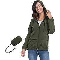 JTANIB Women's Lightweight Hooded Waterproof Raincoat Windbreaker Packable Active Outdoor Rain Jacket
